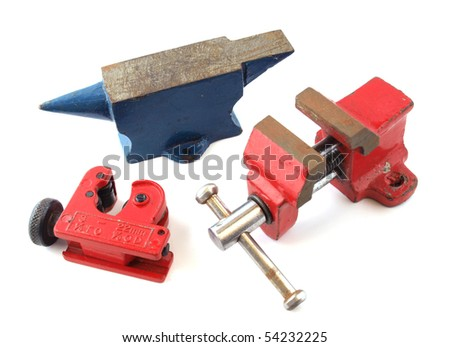 Assotred tools on an isolated white background.