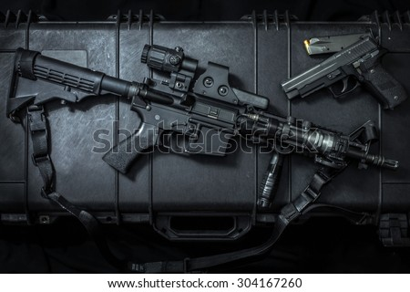 assult rifle AR15 and pistol gun