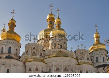 Assumption cathedral in Pecherskaya Lavra monastery - religious edifice. Kiev, Ukraine.