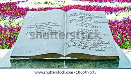 ASTANA, KAZAKHSTAN REPUBLIC - June 24, 2013: Memorable book. Enormous metallic book, gift to the city Astana from a city Karaganda in honour an anniversary