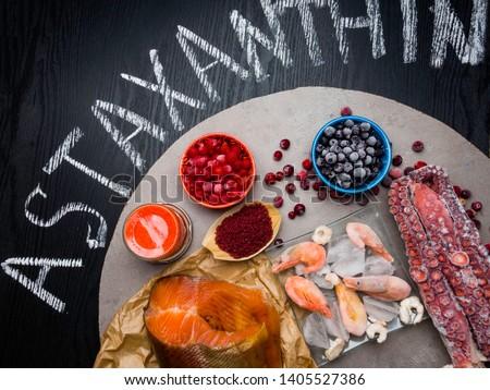 Astaxanthin Healthy Nutrition food, rich in iodine, omega3, antioxidants