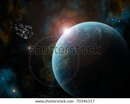 asteroid aiming at planet