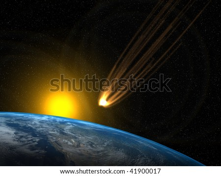Asteroid and planet Earth with the Sun in he background