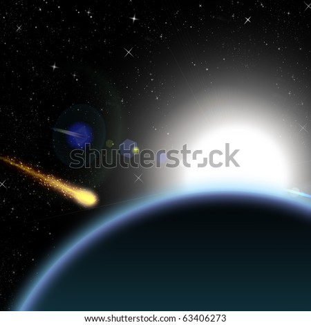 Asteroid and planet Earth with the sunrise on background