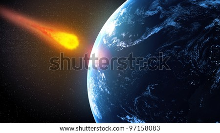 Asteroid falling on Earth illustration - stock photo
