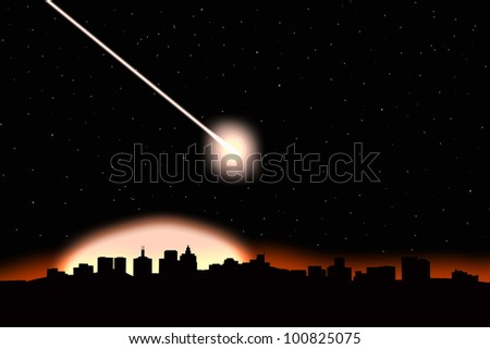Asteroid impact on a city-image