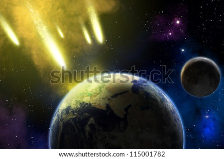 Asteroid in deep space coming to Earth. End of time. Apocalypse (elements furnished by NASA).