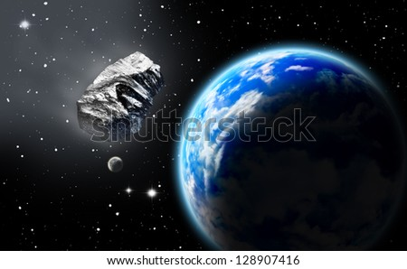 Asteroid in space approaching earth. (All art elements made by me)
