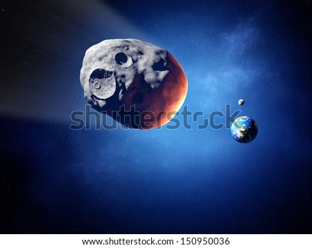 Asteroid on collision course with earth (Elements of this image furnished by NASA )