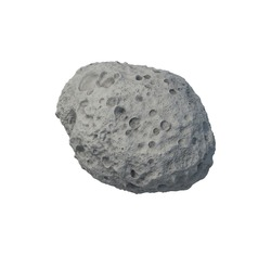 Asteroid (Planetoid, Rock, Stone) isolated on white Background.