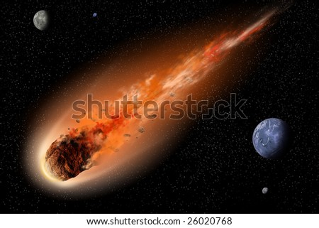 Asteroid With Tail Of Fire Flying Between Planets In Space ...