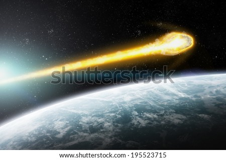 Stock Photo Asteroids flying close to the planet Earth