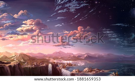Asthetic background. An illustration of anime background.
