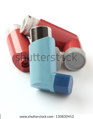 Asthma inhalers isolated on a white background