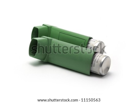 Asthma inhalers isolated on white background