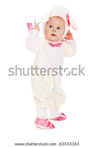 Astonished  baby in a lamb costume, isolated
