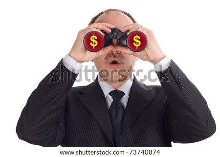 Astonished businessman looking through binoculars-isolated on white