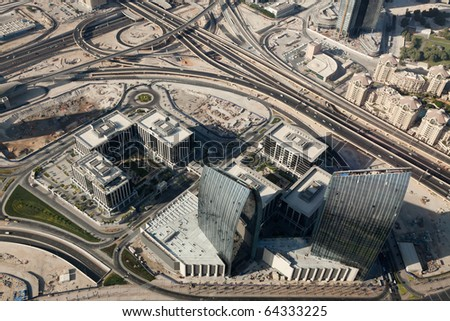 Astonishing bird's eye view to the business center of the modern city