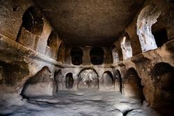 Astonishing Selime Monastery cutted into volcanic tuff in Cappadocia, Turkey