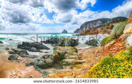 Astonishing  view of beach Portu Cauli in Masua with Pan di Zucchero at background. Blooming flowers at rocks.  Location:  Masua, Iglesias, Sardinia, Italy Europe Foto stock ©