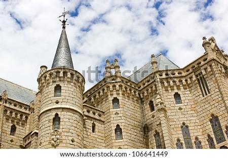 Astorga episcopal palace,towers.