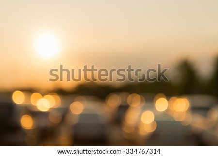 Astract background with car park sunset light blur bokeh , defocused background #334767314