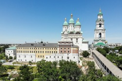 Astrakhan. Astrakhan Kremlin. Fortress. Assumption Cathedral and the bell tower of the Astrakhan Kremlin. Flying drone over the Kremlin. Panorama of the city of Astrakhan. park for rest and walks.