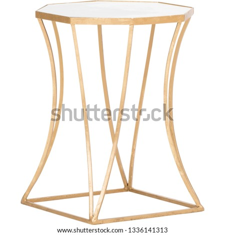 Astre End Table Table Base Color: Gold Leaf, Emery End Table, Designs Henrie Cross End Table with white background