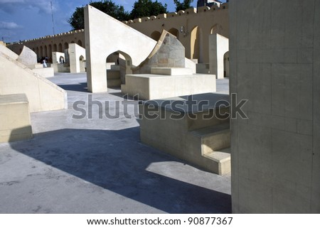 Astrological and astronomical instruments at Jantar Mantar, Jaipur, India