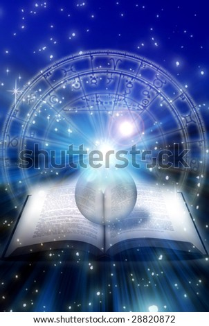 astrological book with crystal ball over zodiac and starry space
