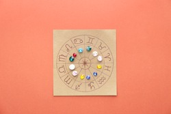 Astrological horoscope with birthstones on color background