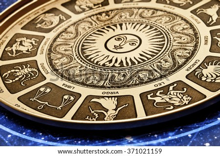 astrological plate with all signs of zodiac