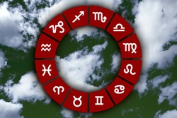 astrological signs on abstract sky