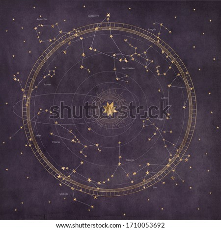 Astrological star map with planetary orbits and zodiac constellations on a dark purple background texture.