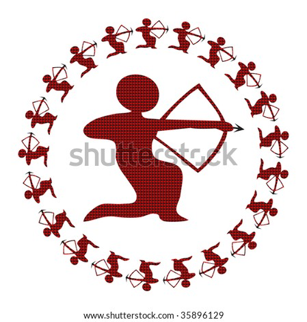 astrological symbol for the archer - stock photo