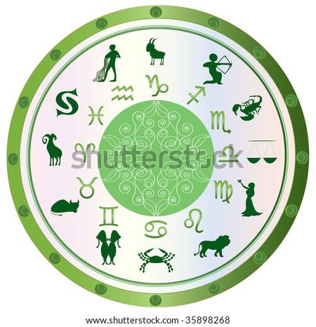 astrological symbol zodiac, green