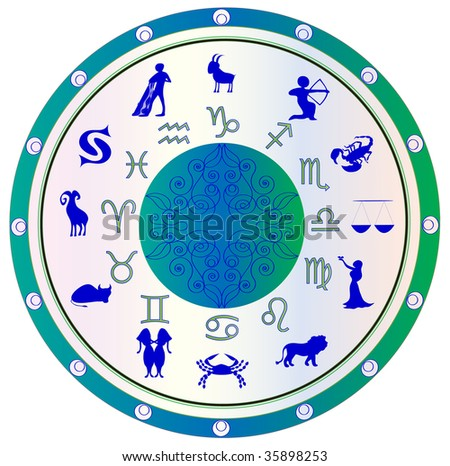 astrological symbol zodiac, green and blue