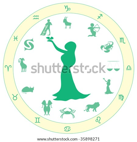 astrological symbol zodiac, yellow and green, symbol  for virgin