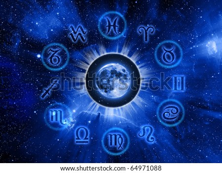 astrological symbols with mystic circle and Moon over Universe background