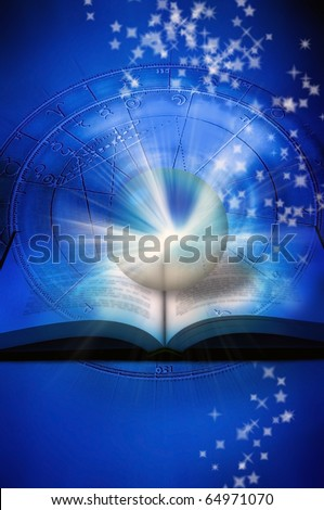 astrological wheel, a book with crystal ball and rays of light over blue starry background