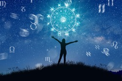 Astrological zodiac signs inside of horoscope circle. Illustration of Woman silhouette consulting the stars and moon over the zodiac wheel and milky way background. The power of the universe concept.
