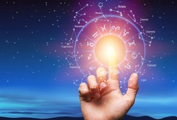 Astrological zodiac signs inside of horoscope circle with human hand