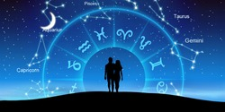Astrological zodiac signs inside of horoscope circle with the couple over the zodiac wheel