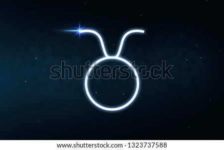 astrology and horoscope - taurus sign of zodiac over dark night sky and stars background