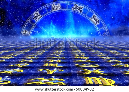 astrology and its zodiac wheel with symbols over astrological and starry Universe background