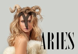 Astrology. Aries Zodiac Sign. Beautiful woman with horns