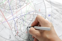 Astrology. Astrologer calculates a natal chart and makes a forecast of fate. Astrological forecast, mysticism, science. Astrological background.