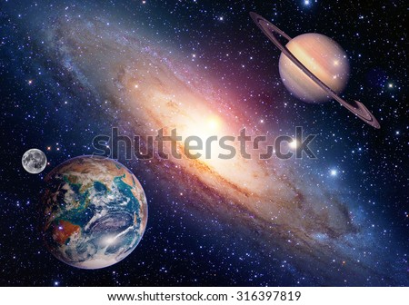 Astrology astronomy earth moon space saturn planet solar system creation. Elements of this image furnished by NASA.