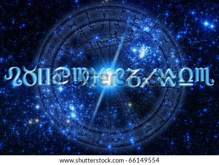astrology concept with zodiac symbols over starry Universe and a horoscope