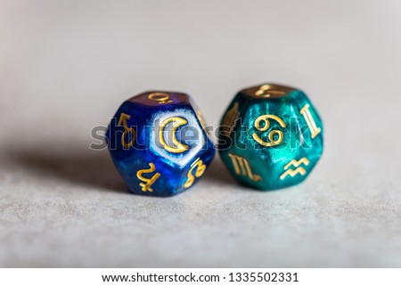 Astrology Dice with zodiac symbol of Cancer Jun 21 - Jul 22 and its ruling celestial body the Moon #1335502331